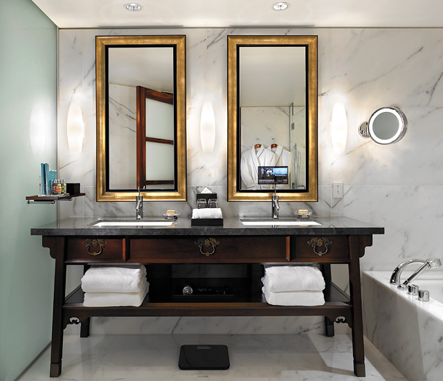 Tom Cruise's hotel bathroom at the Shangri-La in Vancouver