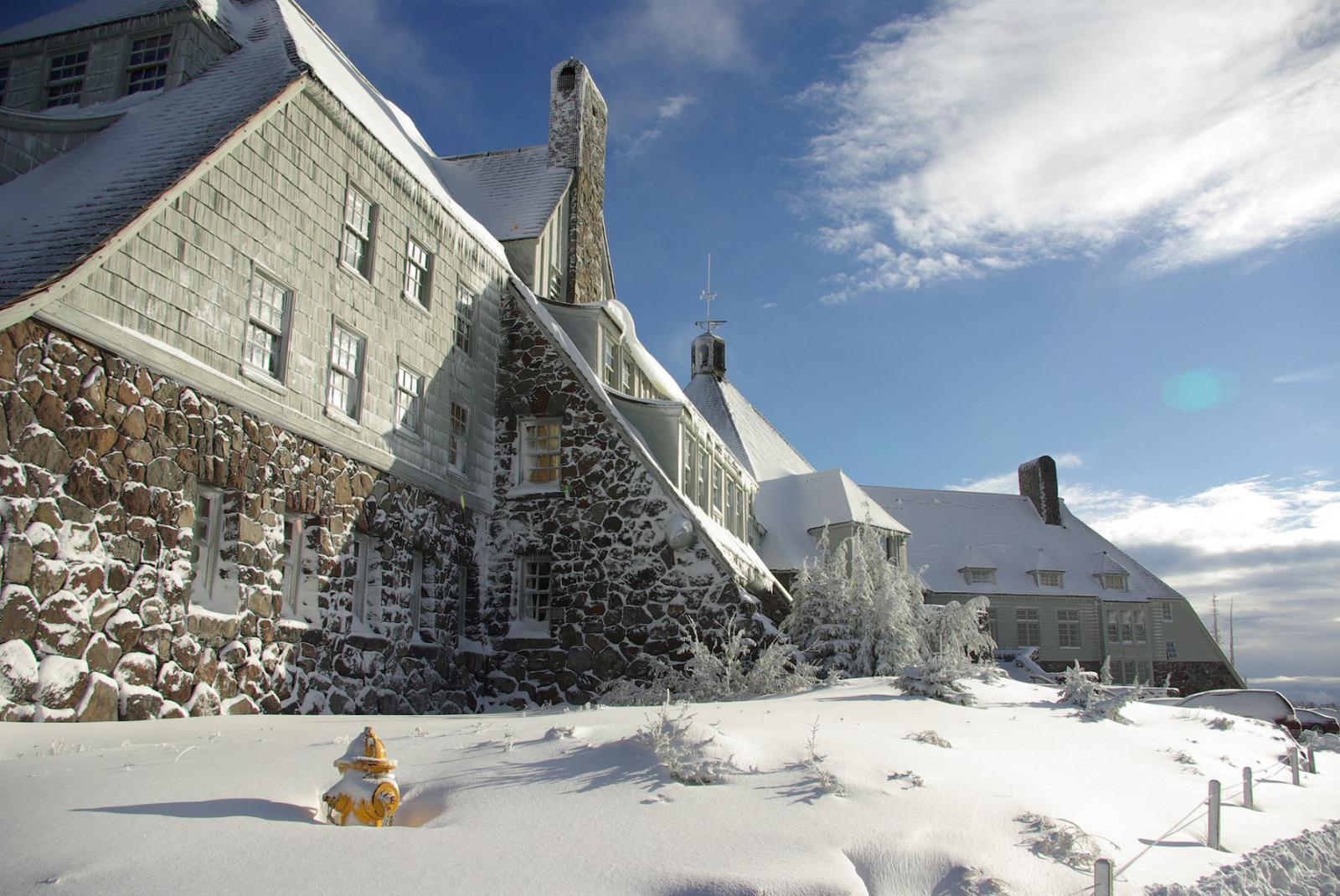 Timberline Lodge is just snowy enough for The Shining