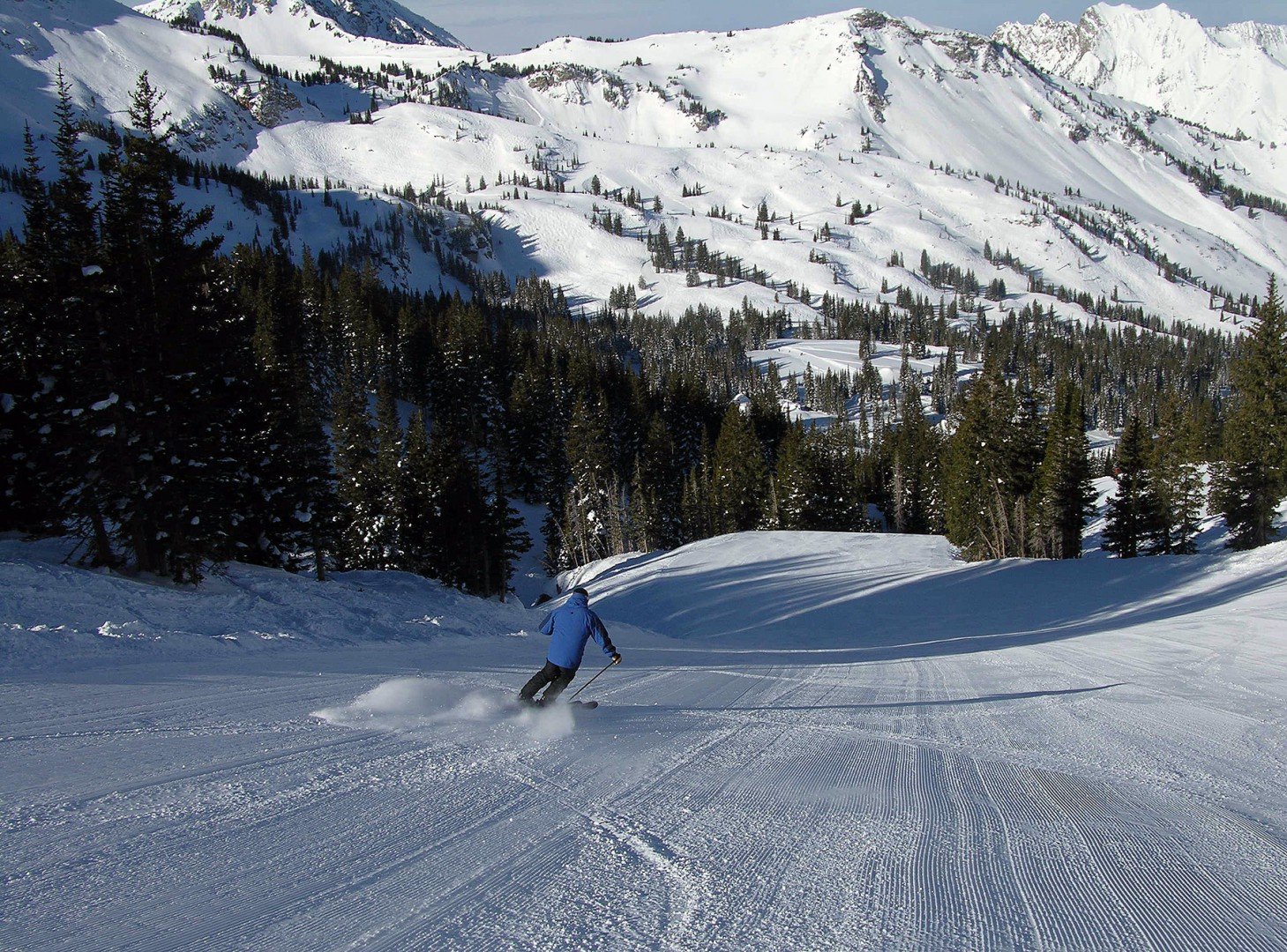 Skiers-only on freshly groomed slopes
