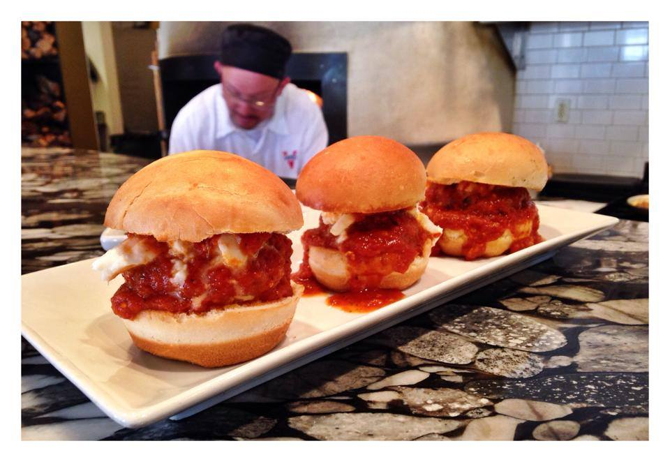 Chicken parm sliders at Vintos in Park City