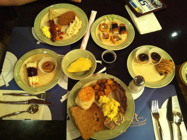 El mejor desayuno, el del hotel Treasure Island.