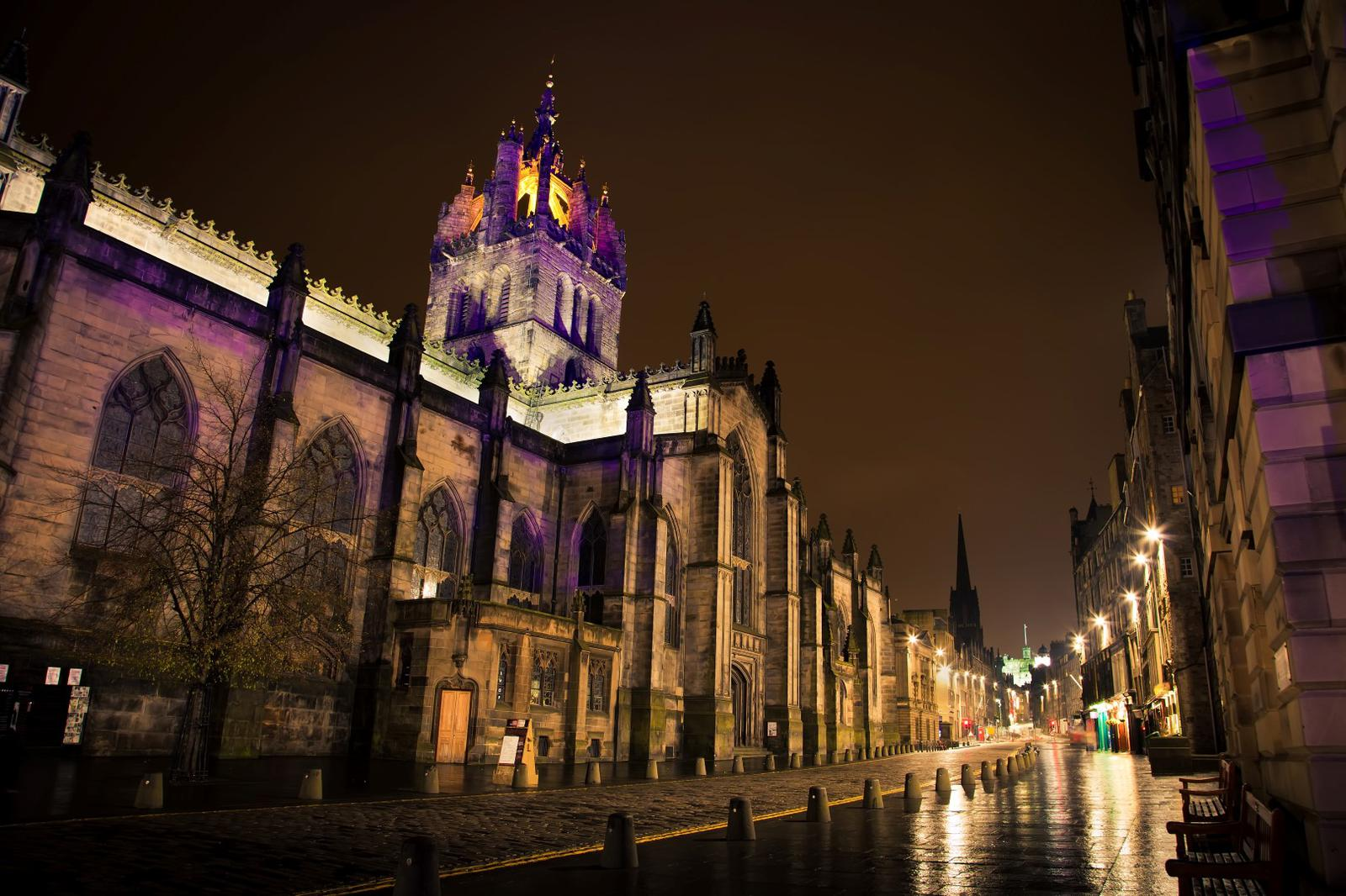Royal Mile in the night. Edinburgh, Scotland