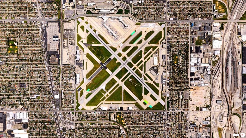 "Aeropuerto Internacional Chicago Midway, Illinois, Stati Uniti – 41 ° 47'10 ""N 87 ° 45'09″ W."