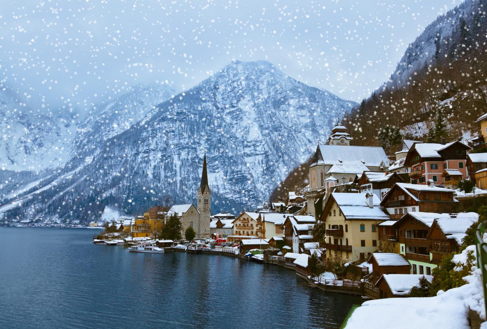 pueblos europeos de postal Village Hallstatt on the lake - Salzburg Austria