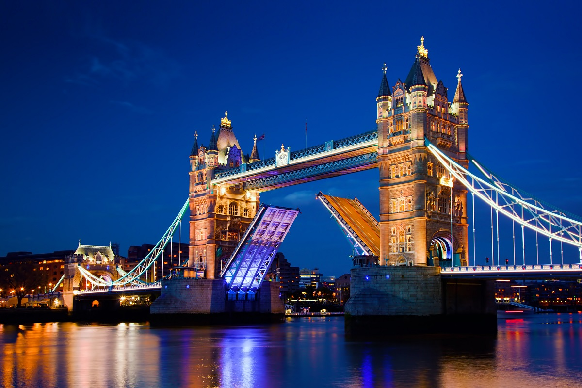 Tower Bridge in London, the UK at night