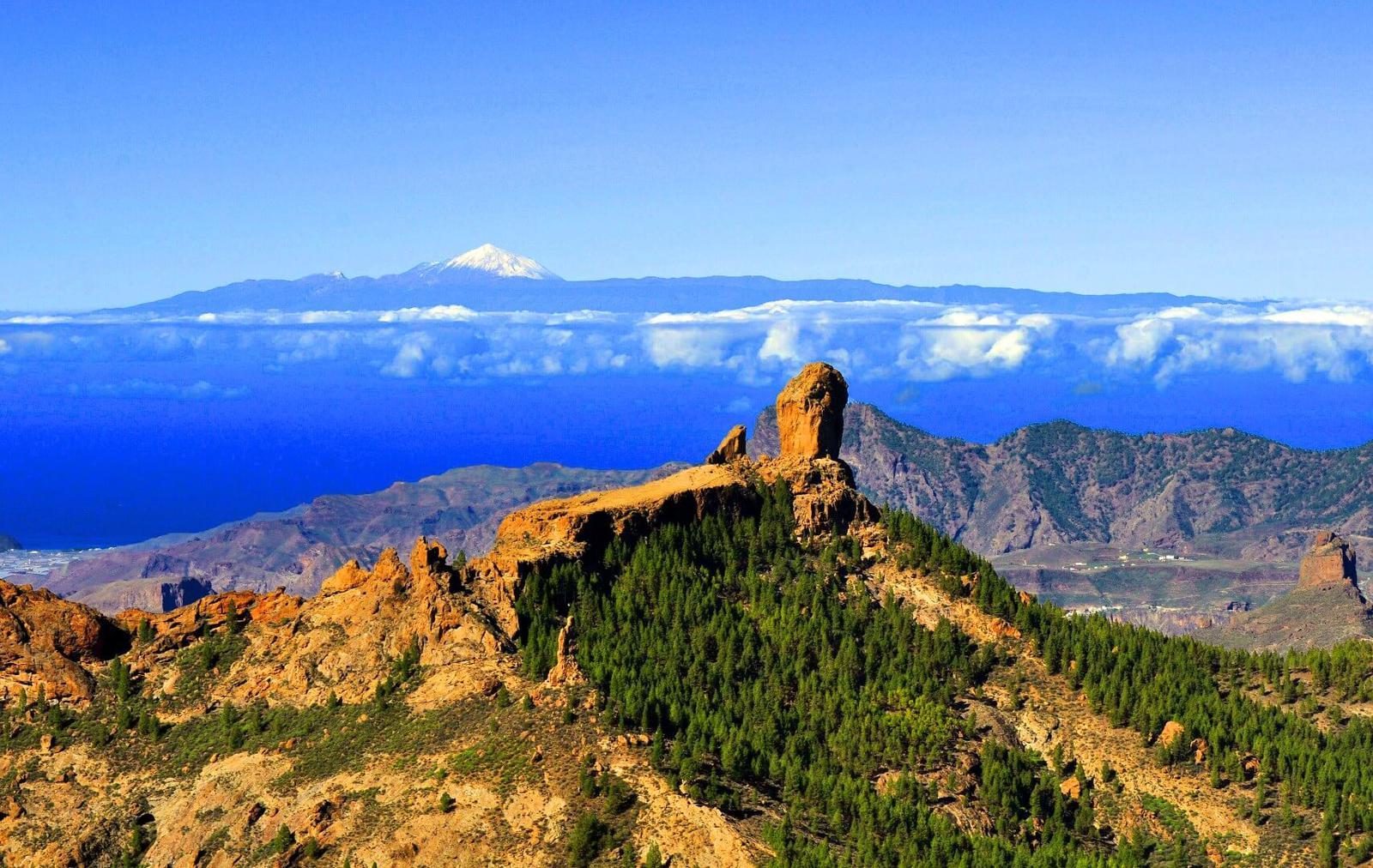 Roque Nublo fondo Tenerife Tejeda Gran Canaria