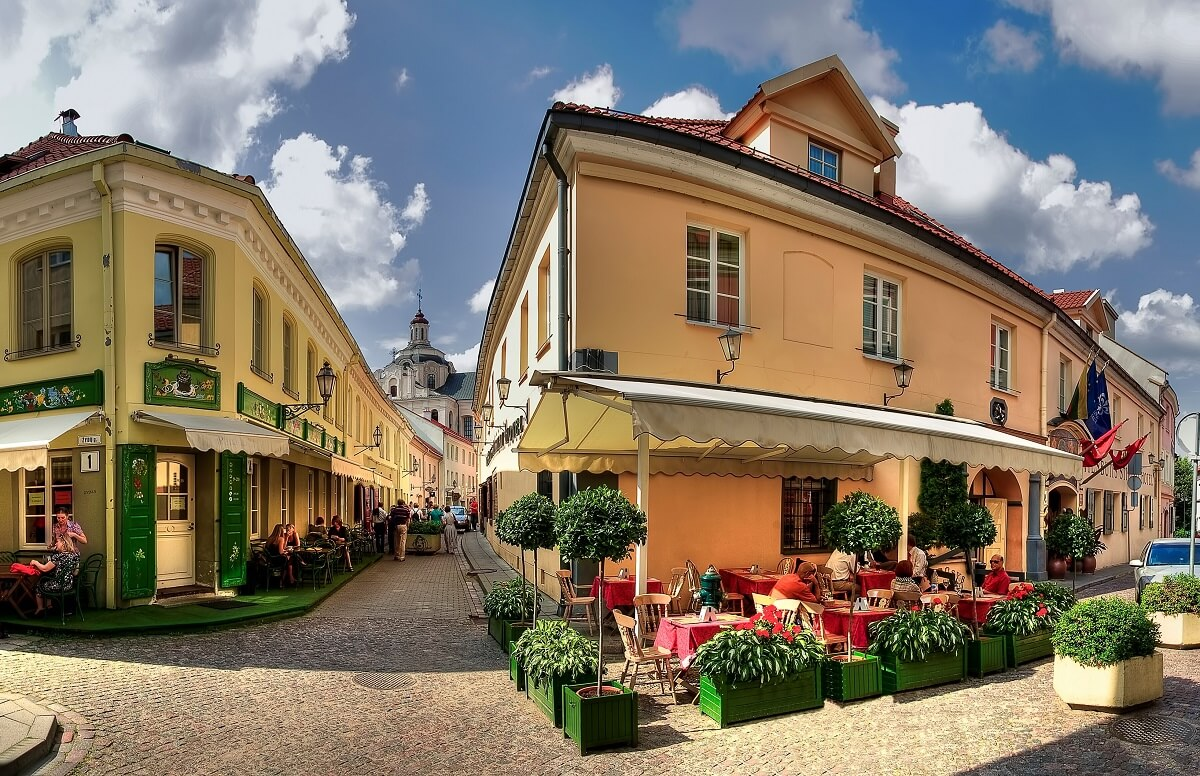 The romantic altstadt in Vilnius, Lithuania.