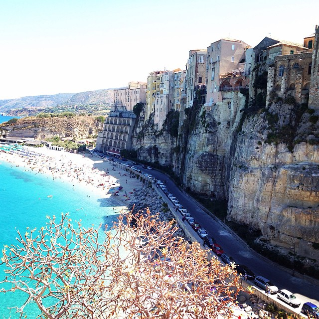 Dramatic cliffs line this romantic beach in Tropea.