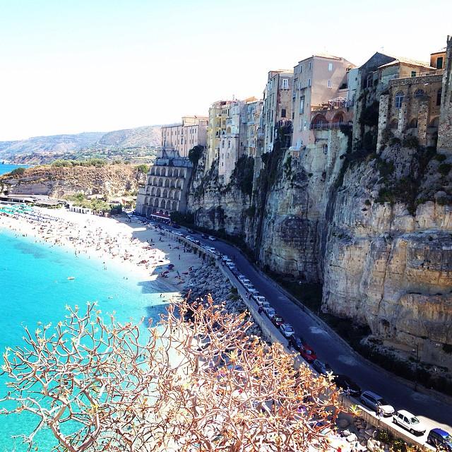 Dramatic cliffs line this romantic beach in Tropea.