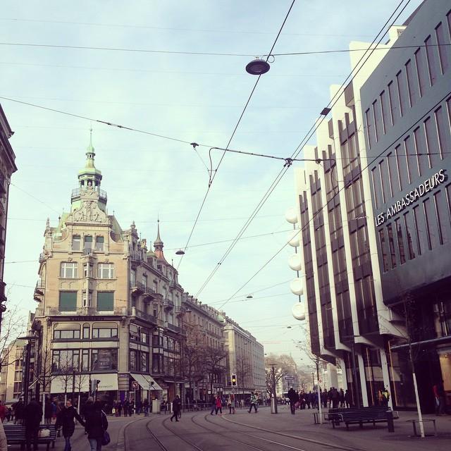 Luxury European shopping street