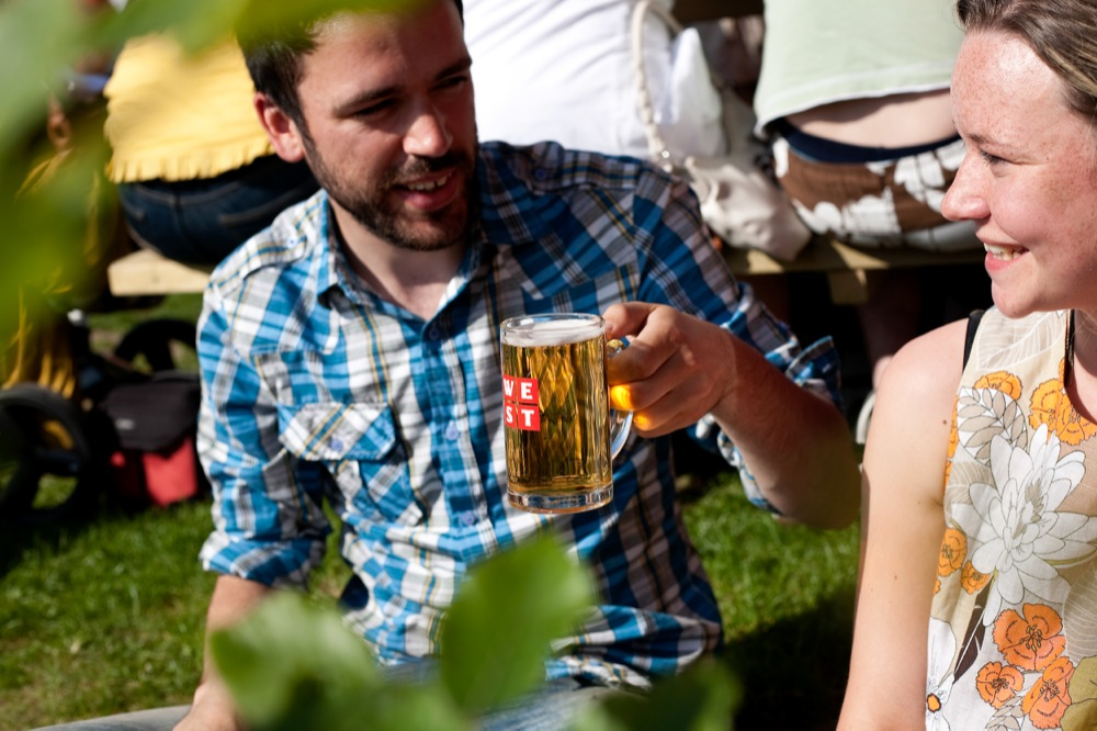 At West Brewery, you can enjoy beer brewed to traditional German standards.