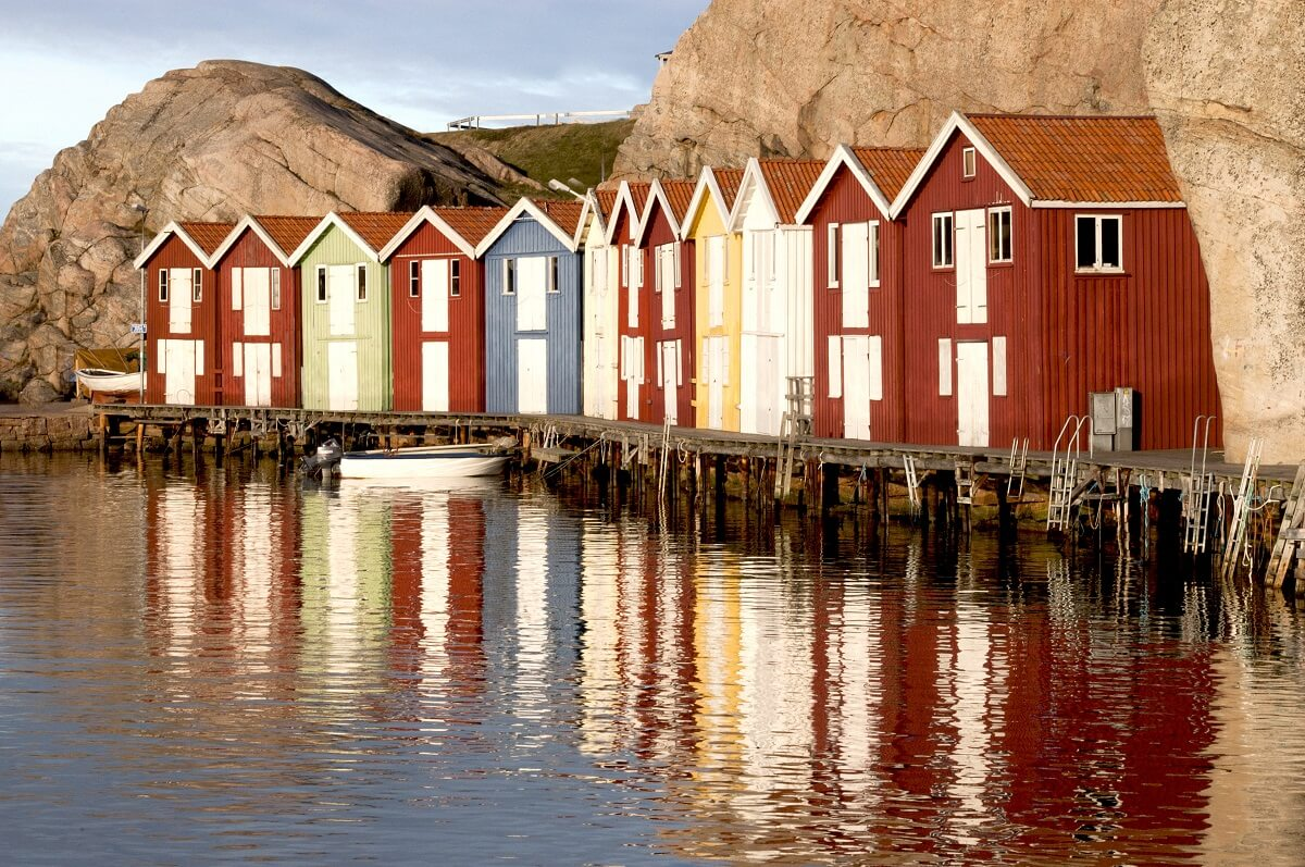 Typical Swedish fishing huts