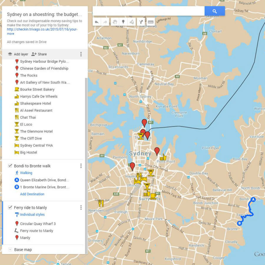 Google Maps-Budget Guide to Sydney