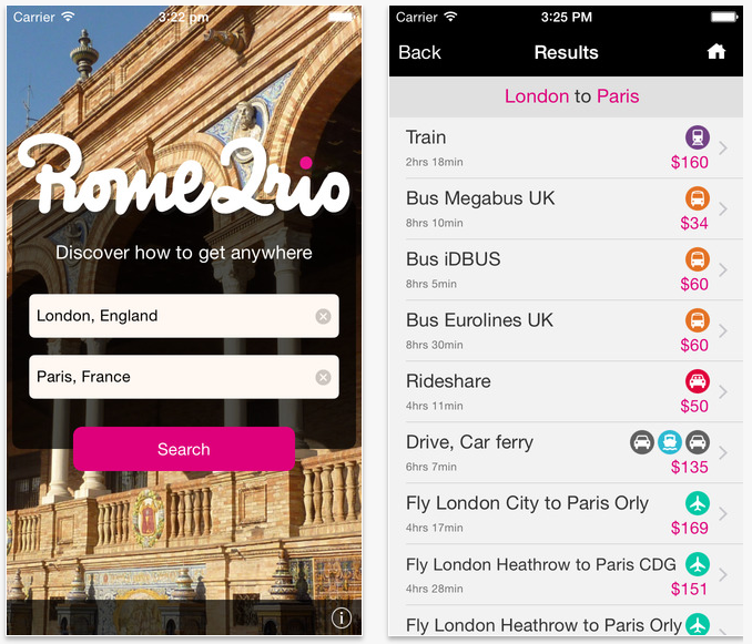 Best travel apps: Rome2rio