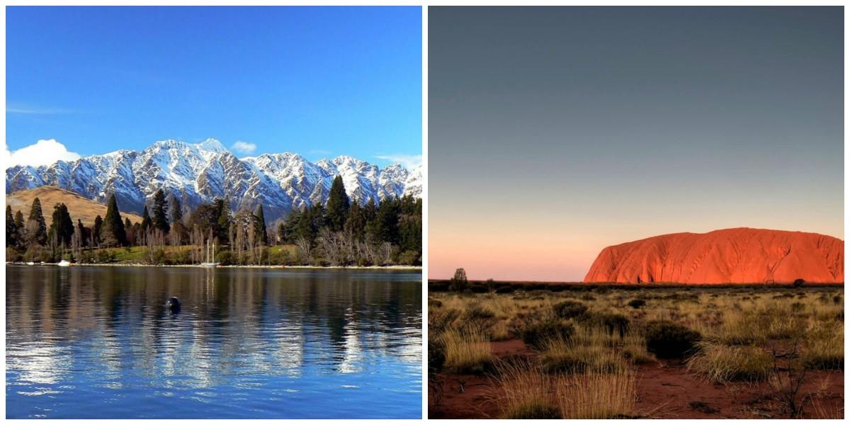 Australia vs. New Zealand: Uluru, the Remarkables