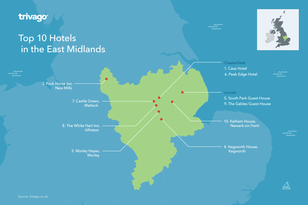 Top hotels map - East Midlands