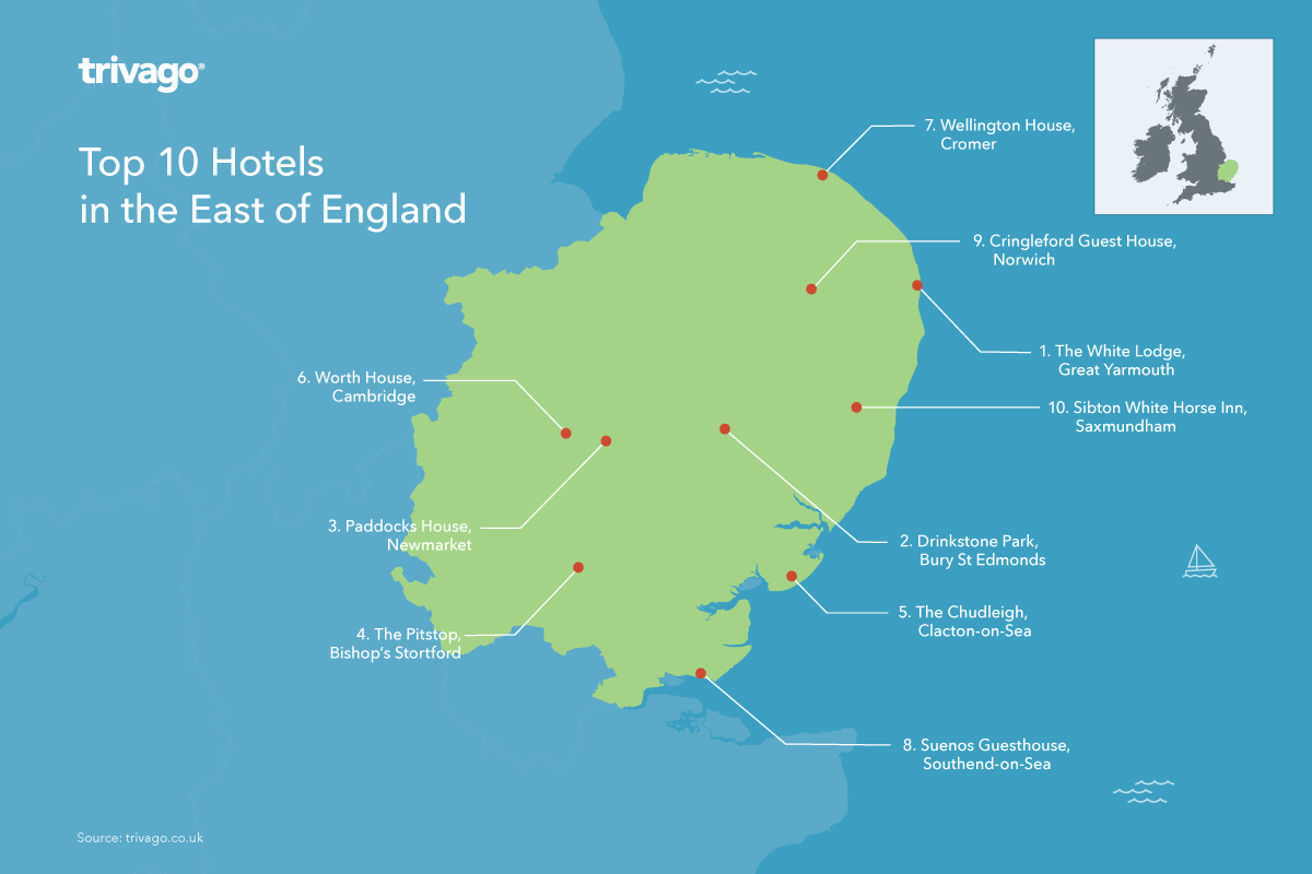 Top hotels map - East of England