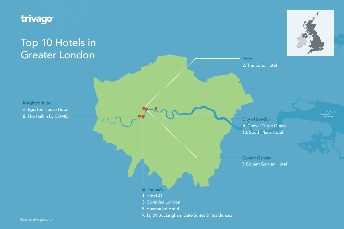 Top hotels map - Greater London