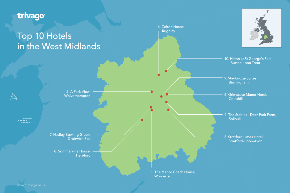 Top rated hotels UK - West Midlands