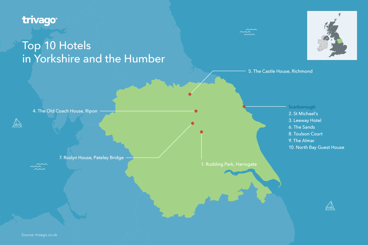 Top rated hotels UK Yorkshire and the Humber