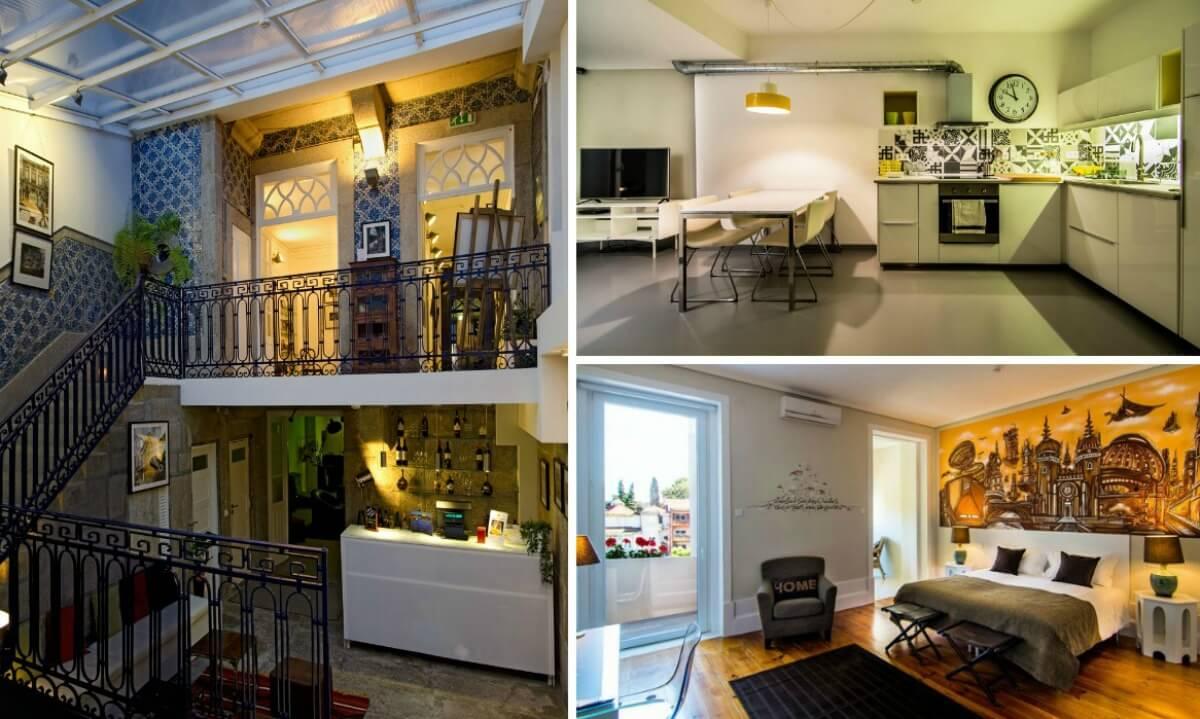 quarto, cozinha e corredor do gallery hostel no porto em portugal