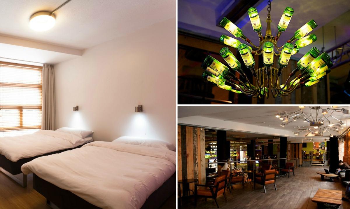 lustre, bar e quarto no hostel generator em dublin na irlanda