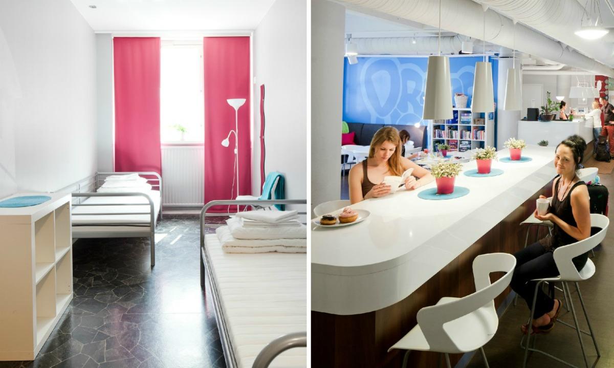 quarto e lounge do dream hostel em tampere