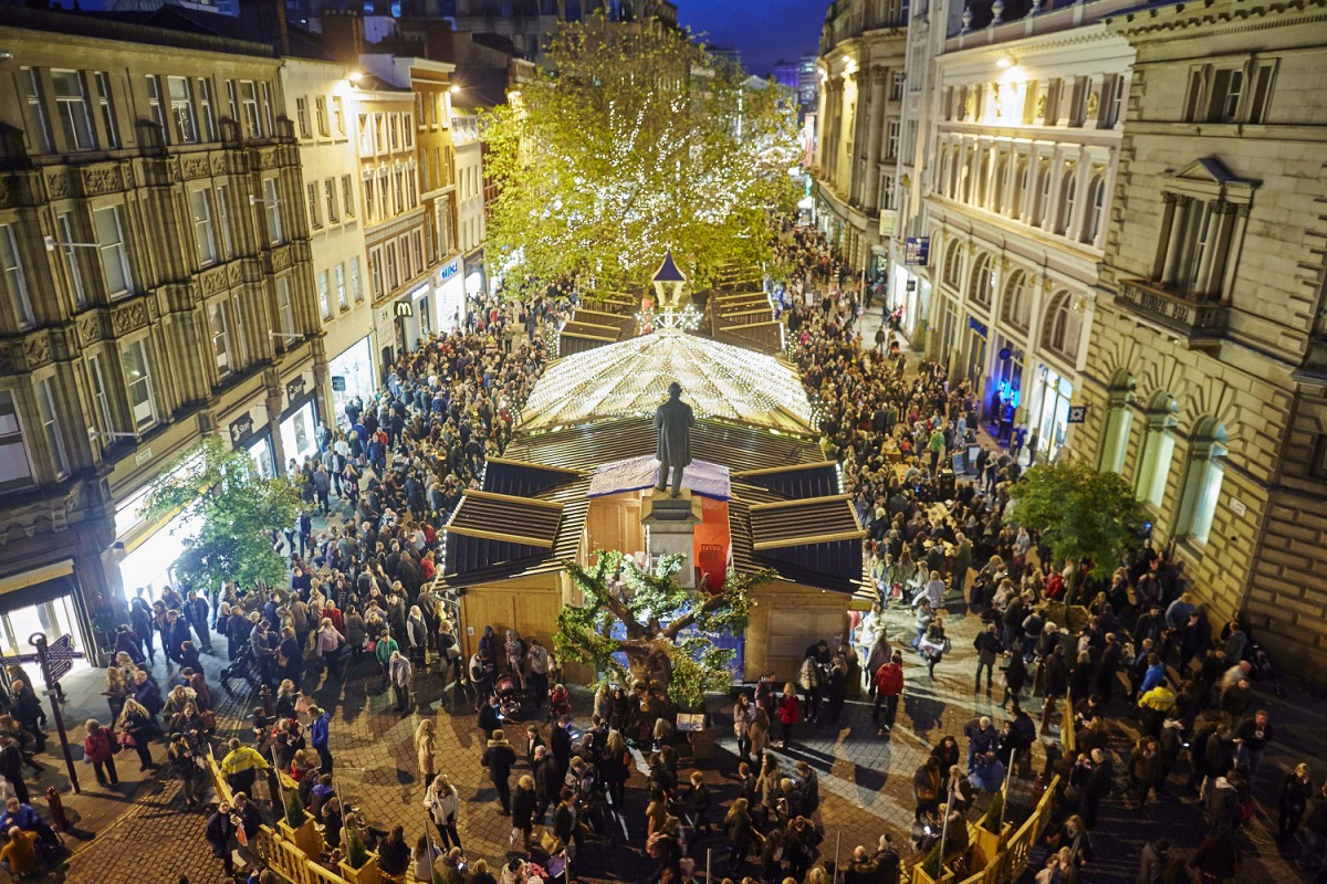 Manchester Christmas Markets and lights 2014 Pictured St Annes Square markets