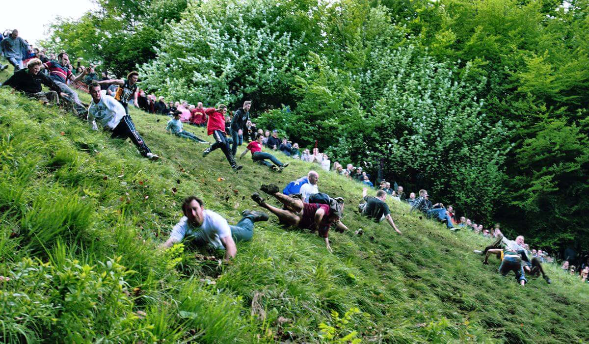 Cheese Rolling in Gloucestershire, England.