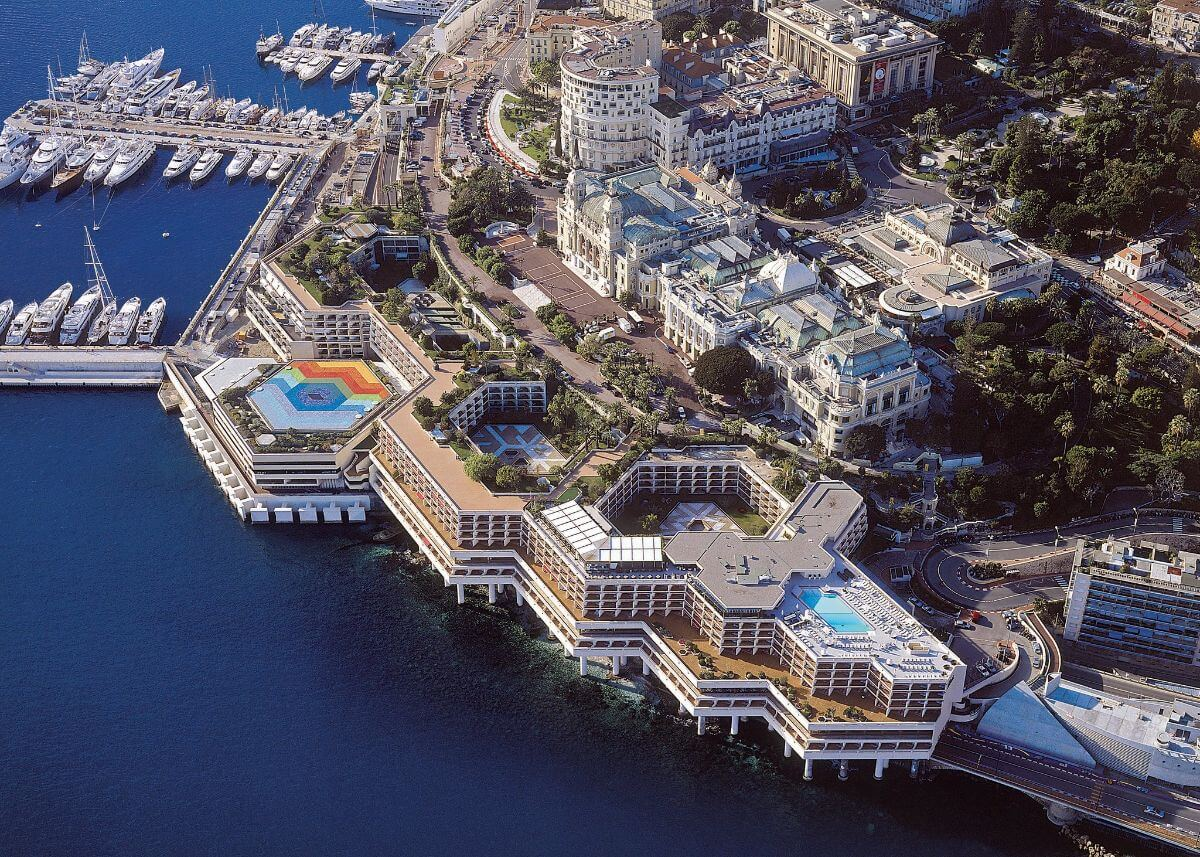 Aerial view of the Fairmont Monte Carlo.
