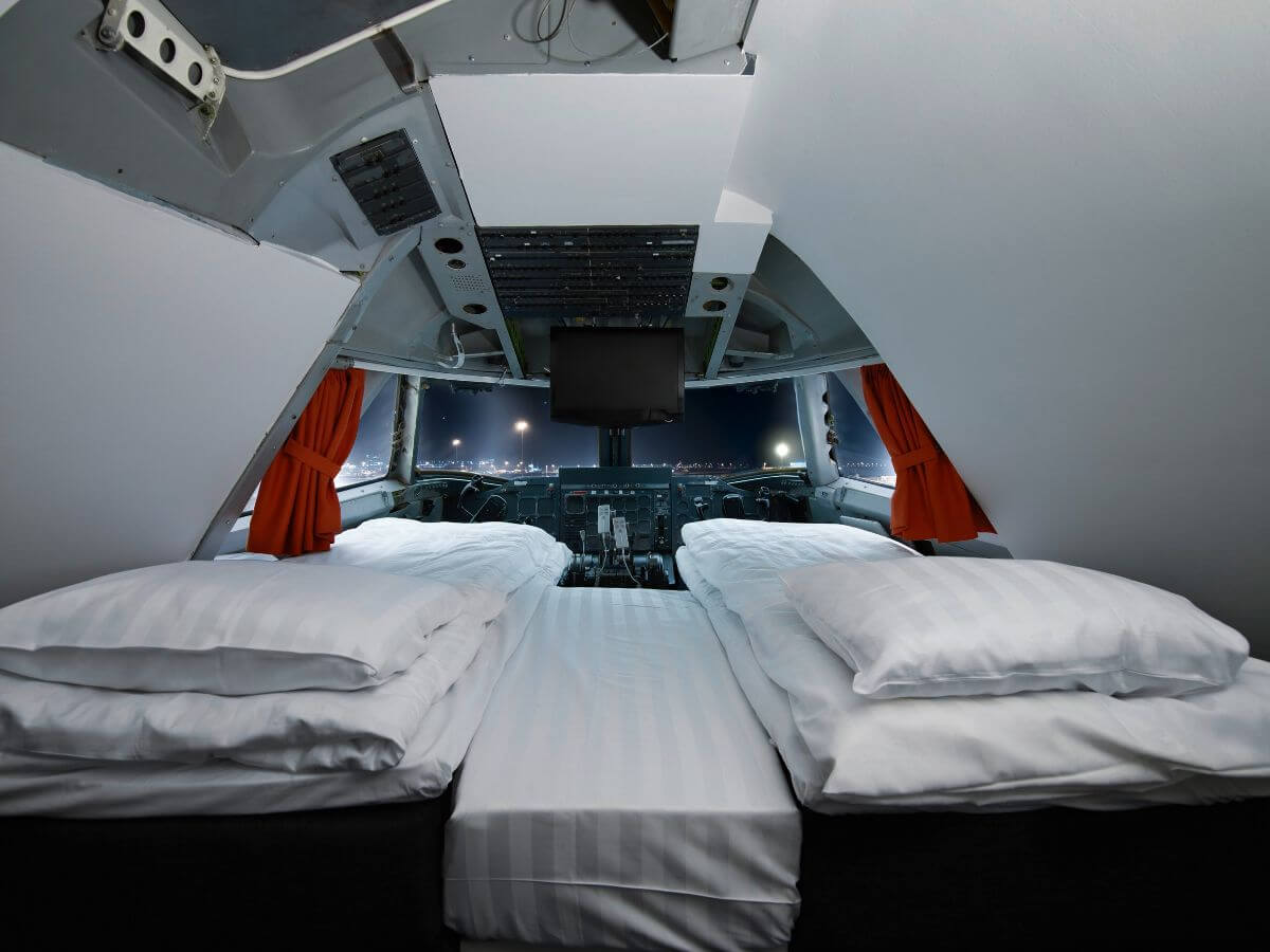 The Jumbo Stay hotel offers aeroplane geeks a night's stay in a cockpit.