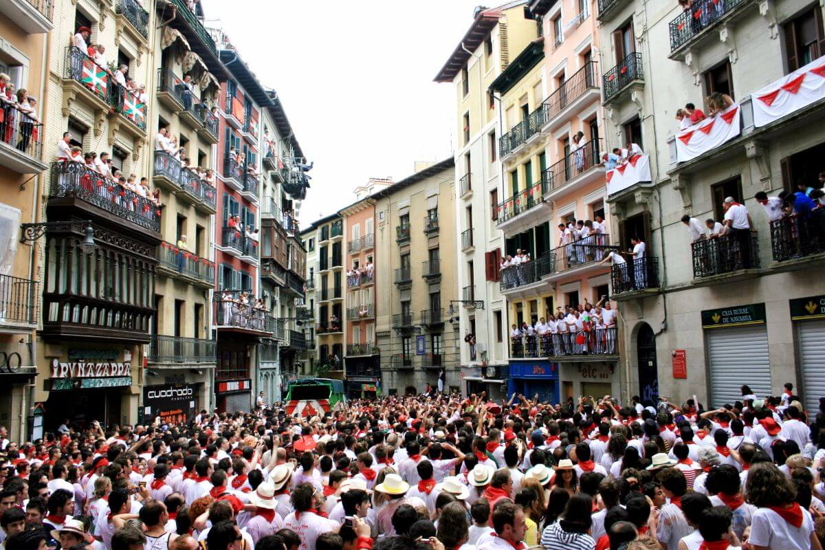 San Fermin, or the running of the bulls, in Pamplona, Spain.