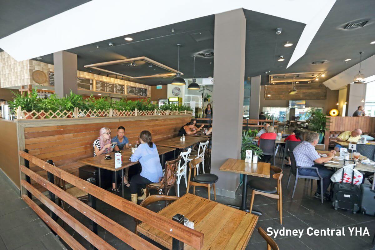 Cafe at budget hostel Central Sydney YHA