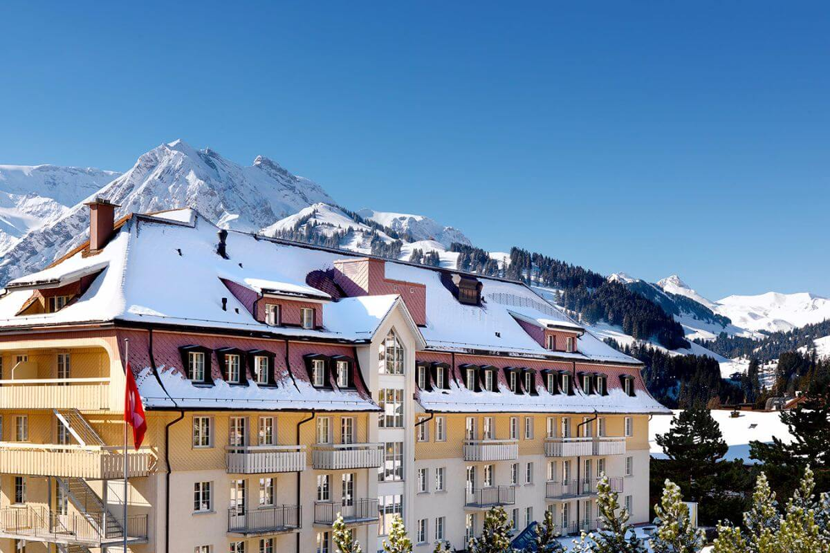 The Cambrian hotel is nestled within the Swiss Alps.