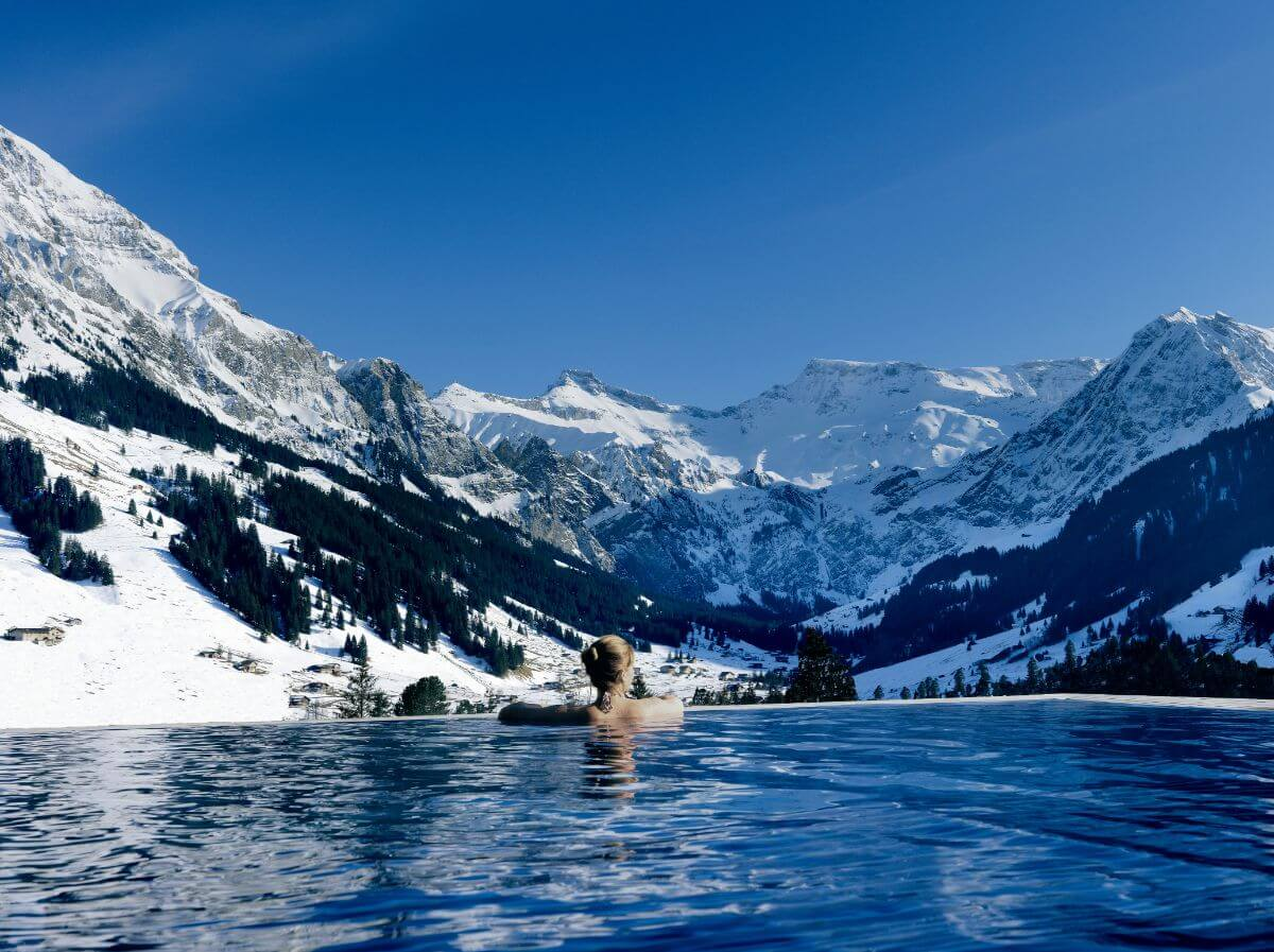 The Cambrian's infinity pool looks out to the Swiss Alps.