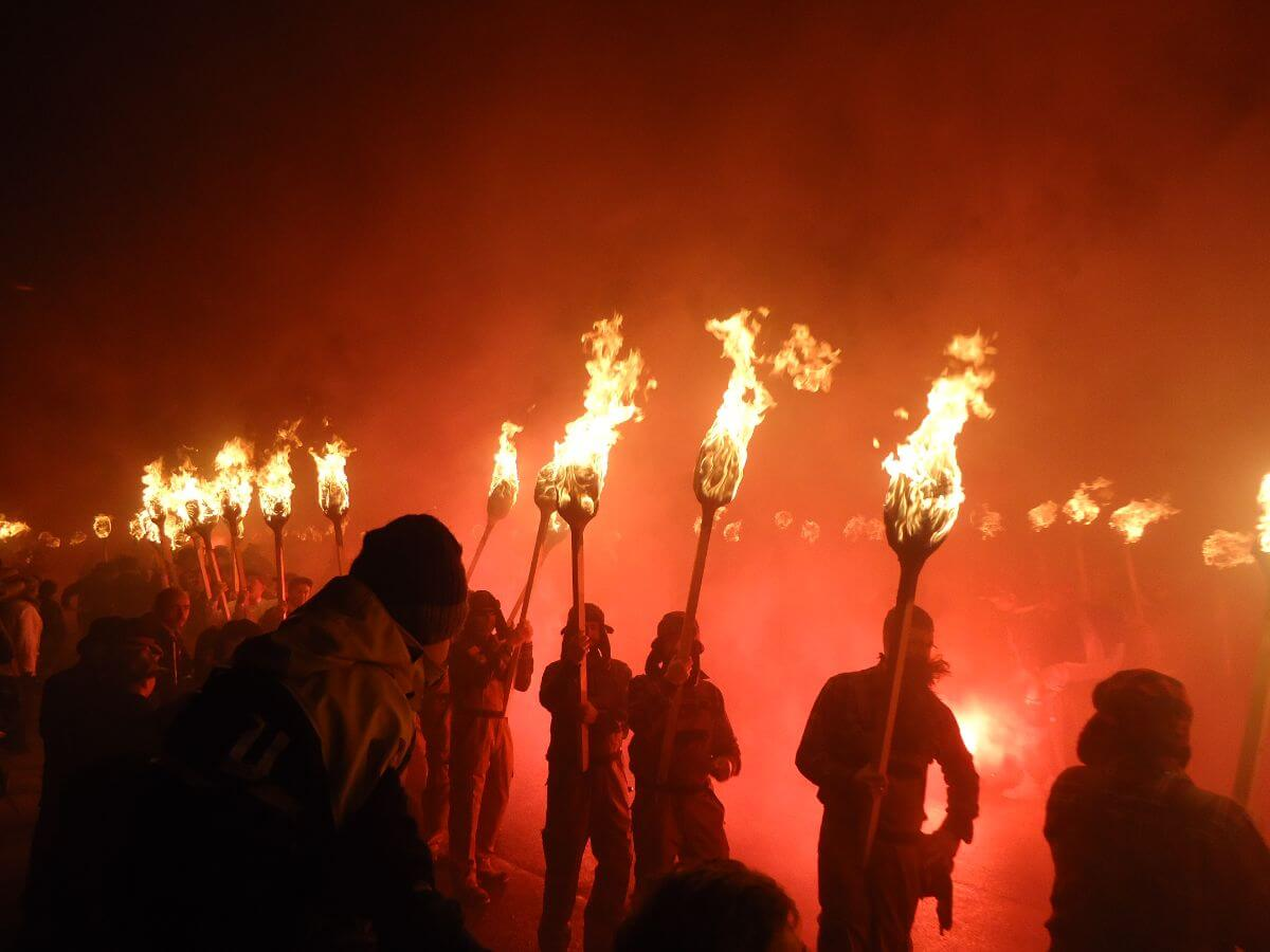 Up Helly Aa on the Shetland Islands in Scotland.