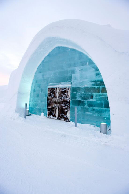 Sweden's Icehotel is built anew every year.