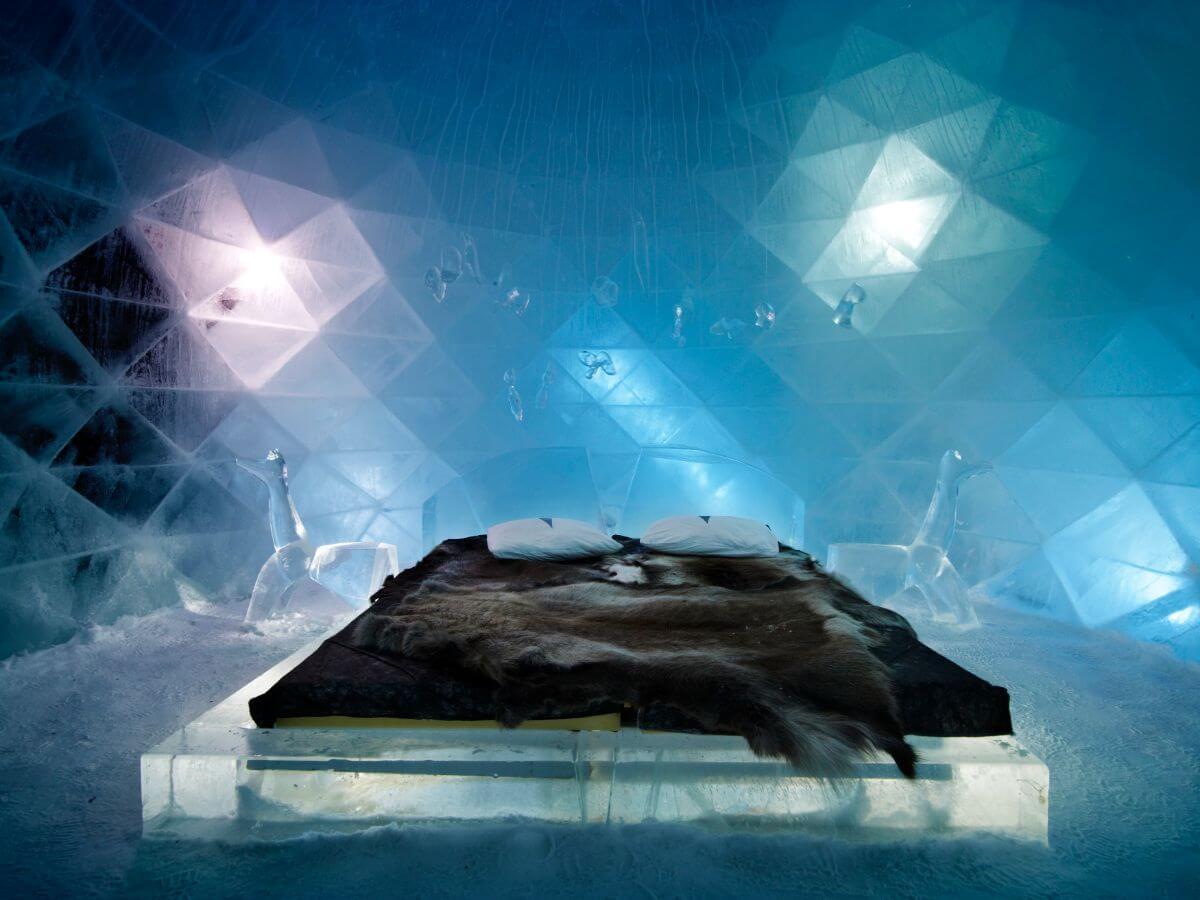 The stunning Icehotel in Jukkasjärvi, Sweden.