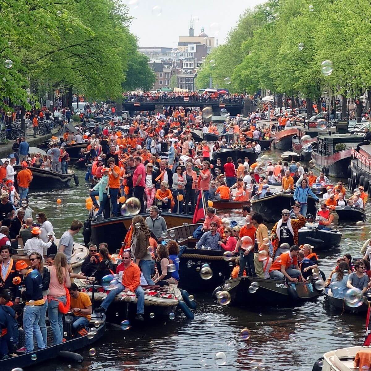 King's Day in Amsterdam, Netherlands.