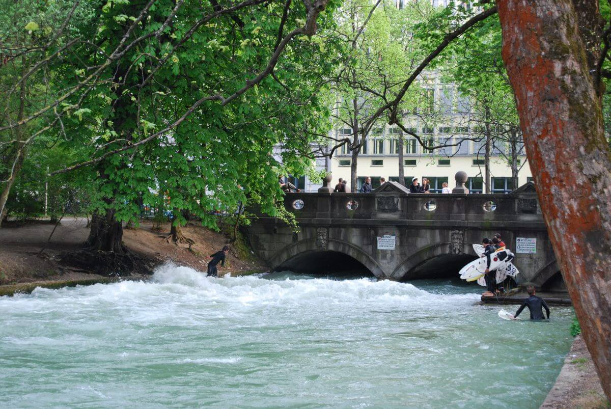 Surfers at The City Gardens, Munich, Germany