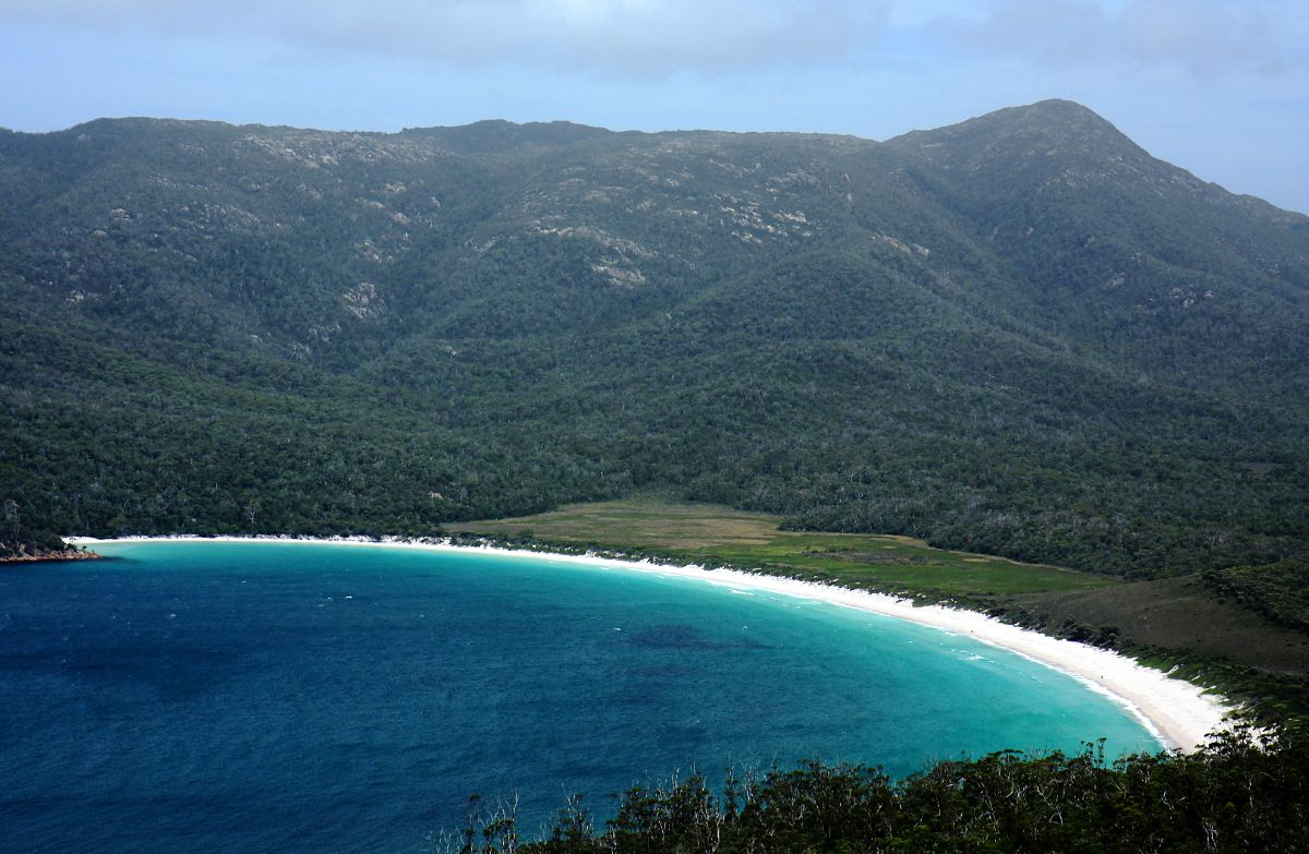 Wineglass Bay from lookout, Freycinet Circuit, Tasmania