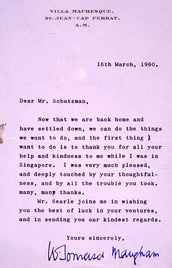 Somerset Maugham Letter