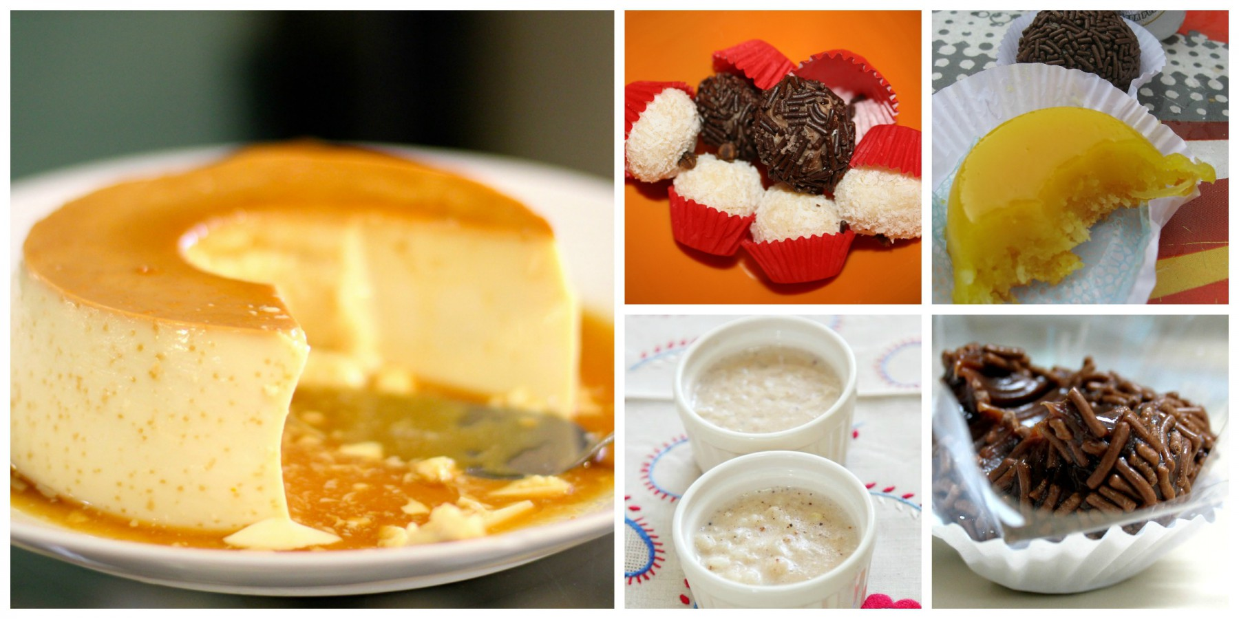 Délicieux desserts brésiliens : quindim, brigadeiros, beijinhos de coco, pudim de leite