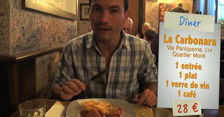 Repas au restaurant la Carbonara à Rome