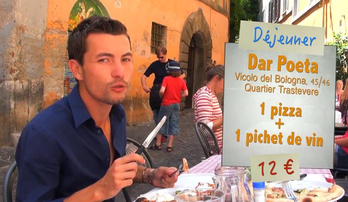 Pizza à la trattoria Dar Poeta à Rome