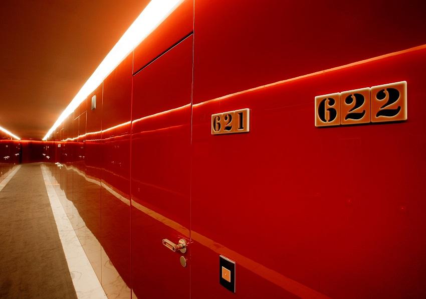 Couloirs laqués en rouge - Silken Puerta América Madrid