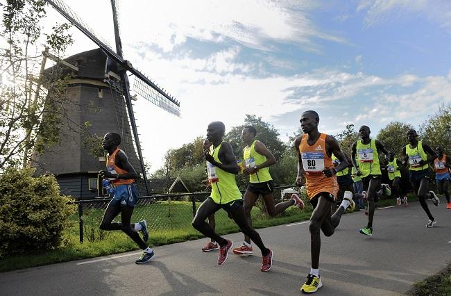 Coureurs du marathon d'Amsterdam devant un moulin