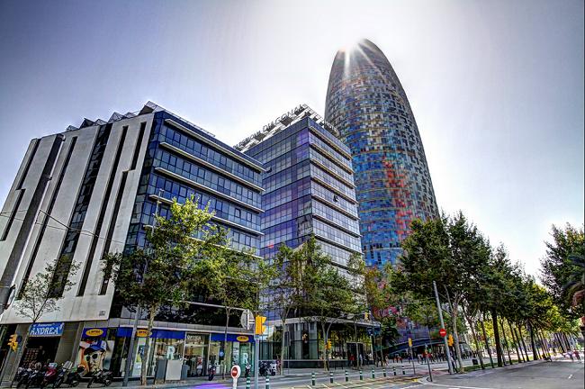 Torre Agbar - Parcours du marathon de Barcelone