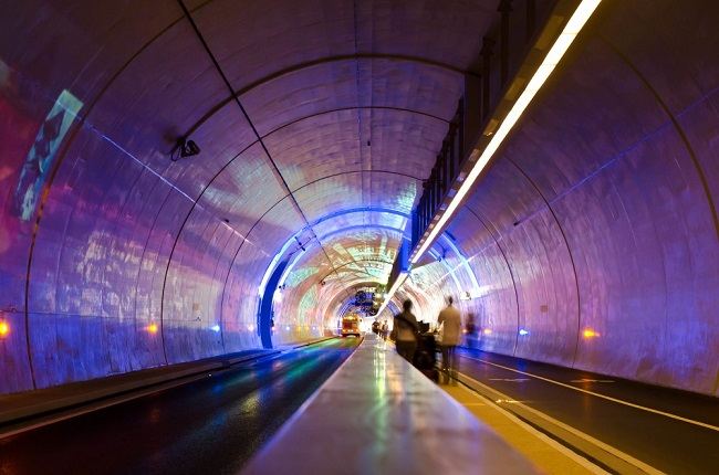 Intérieur tunnel de la Croix-Rousse - Parcours du marathon de Lyon