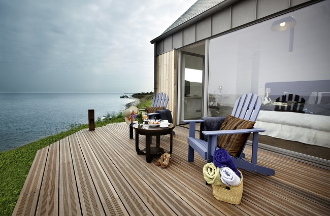 Terrasse vue mer - Hôtel Le Landemer - Urville-Nacqueville